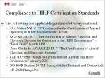 compliance to hirf certification standards