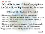 do 160d section 20 test category data for criticality of equipment and functions