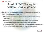 level of emc testing for nre installations cont d1