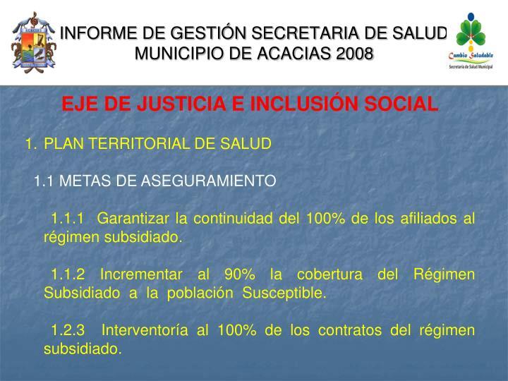 Informe de gesti n secretaria de salud municipio de acacias 20081