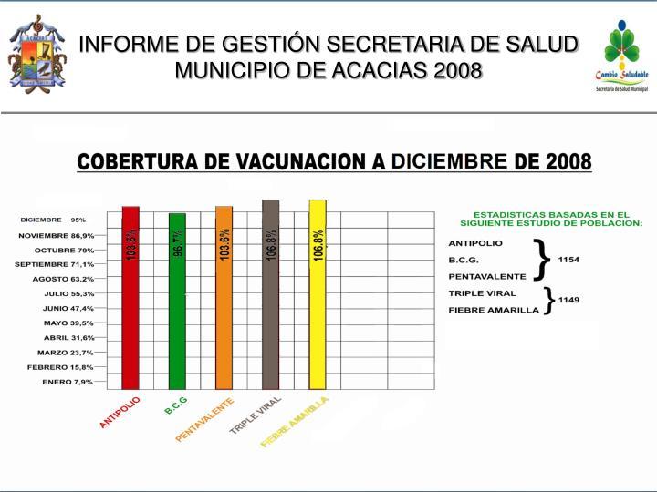 INFORME DE GESTIÓN SECRETARIA DE SALUD