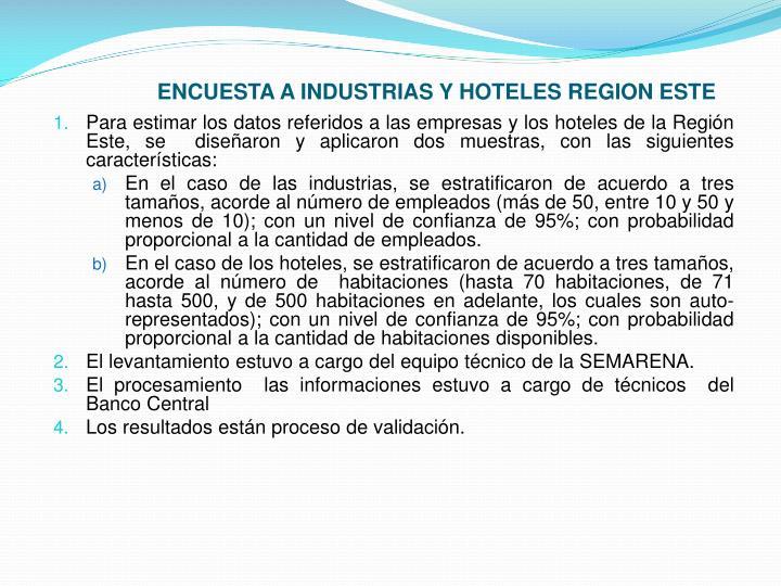 ENCUESTA A INDUSTRIAS Y HOTELES REGION ESTE