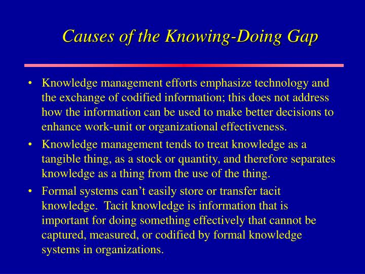 Causes of the Knowing-Doing Gap