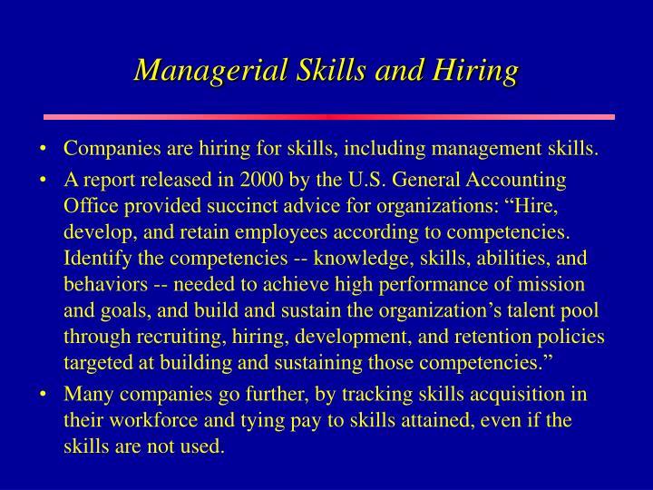 Managerial Skills and Hiring