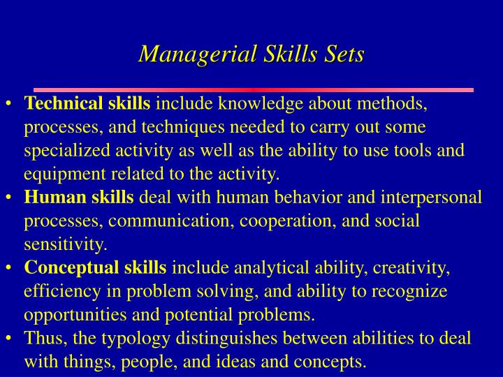 Managerial Skills Sets