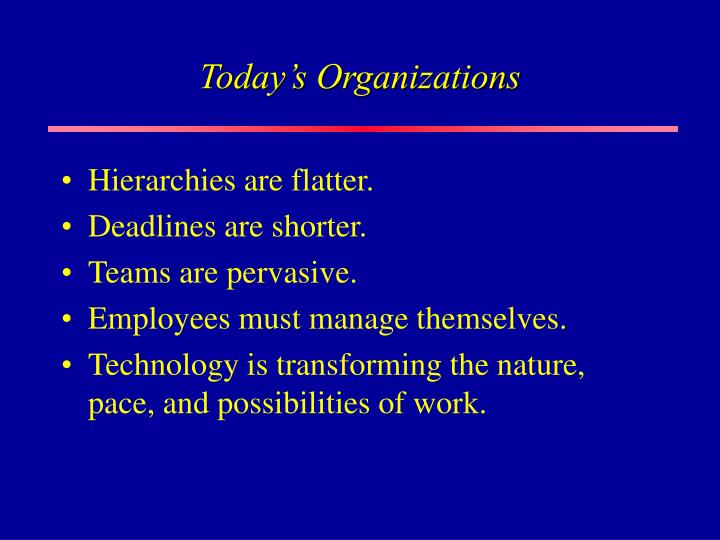 Today s organizations