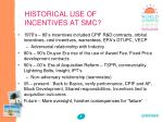 historical use of incentives at smc