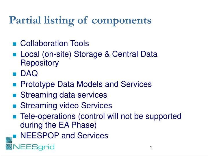 Partial listing of components