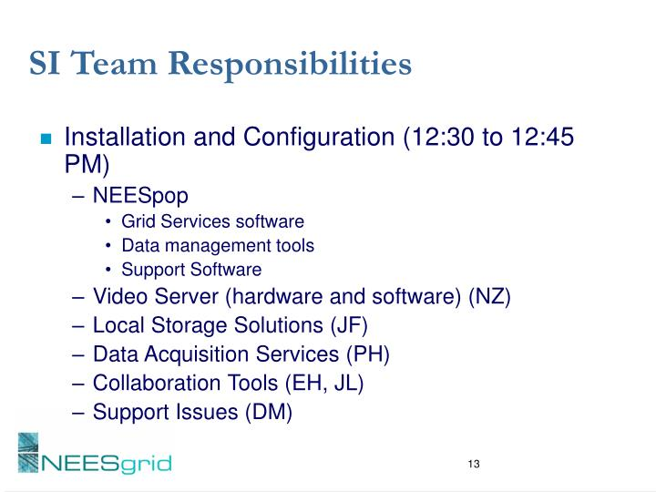 SI Team Responsibilities