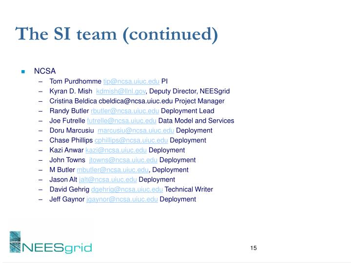 The SI team (continued)