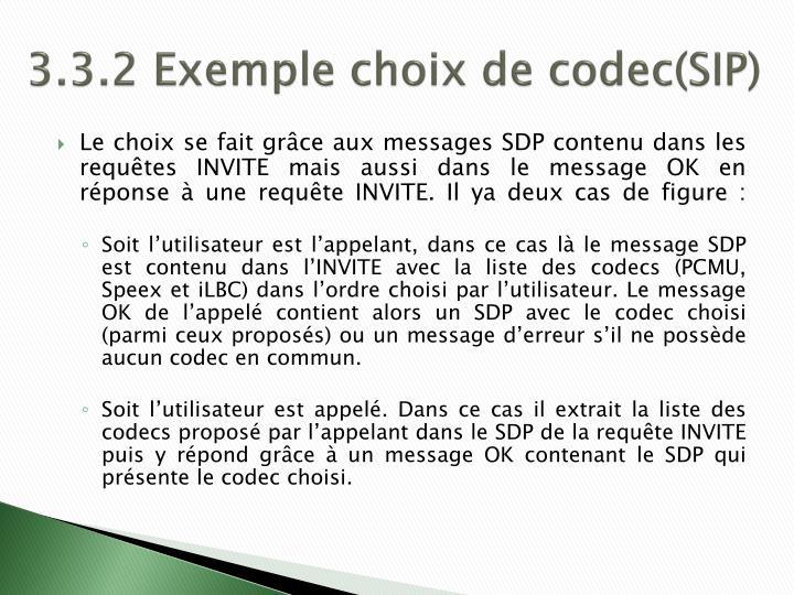 3.3.2 Exemple choix de