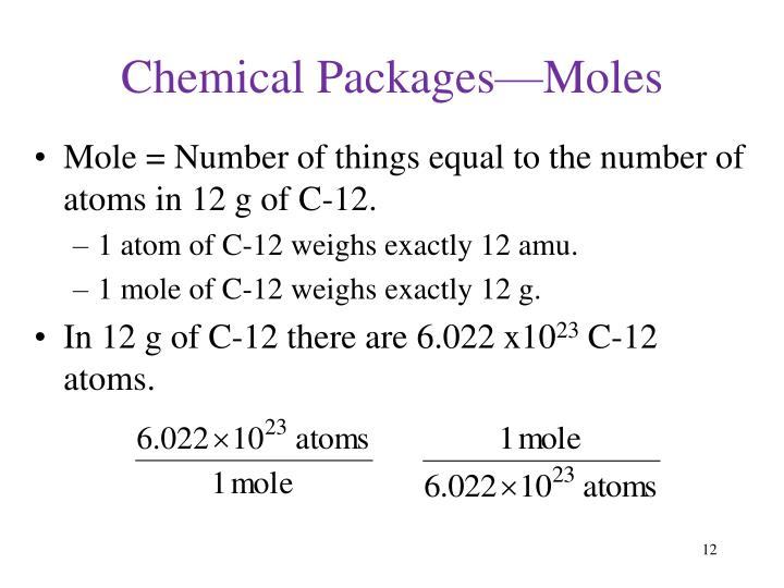 Chemical Packages—Moles