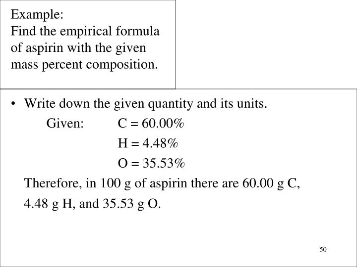 Write down the given quantity and its units.