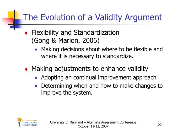 The Evolution of a Validity Argument