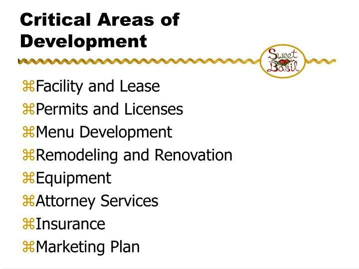 Critical Areas of Development