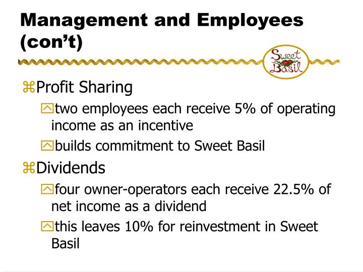 Management and Employees (con't)