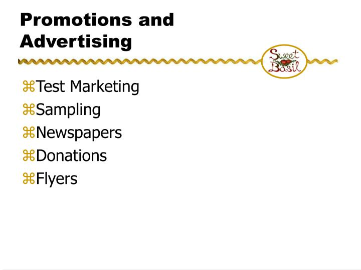 Promotions and Advertising
