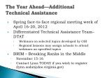 the year ahead additional technical assistance