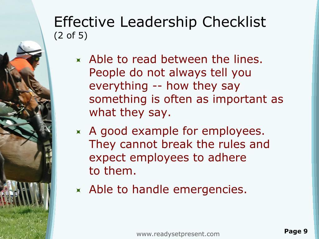 Effective Leadership Checklist