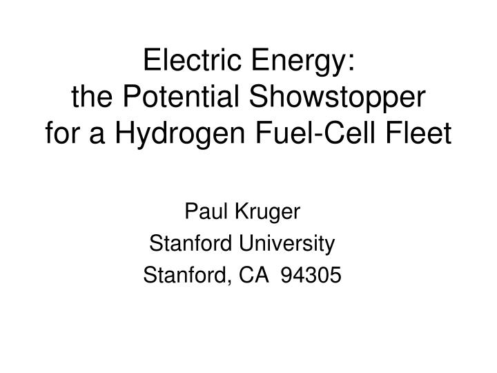 electric energy the potential showstopper for a hydrogen fuel cell fleet n.