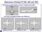 dimensions of boeing 737 300 400 and 500