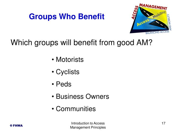 Groups Who Benefit