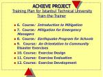 achieve project training plan for istanbul technical university train the trainer1