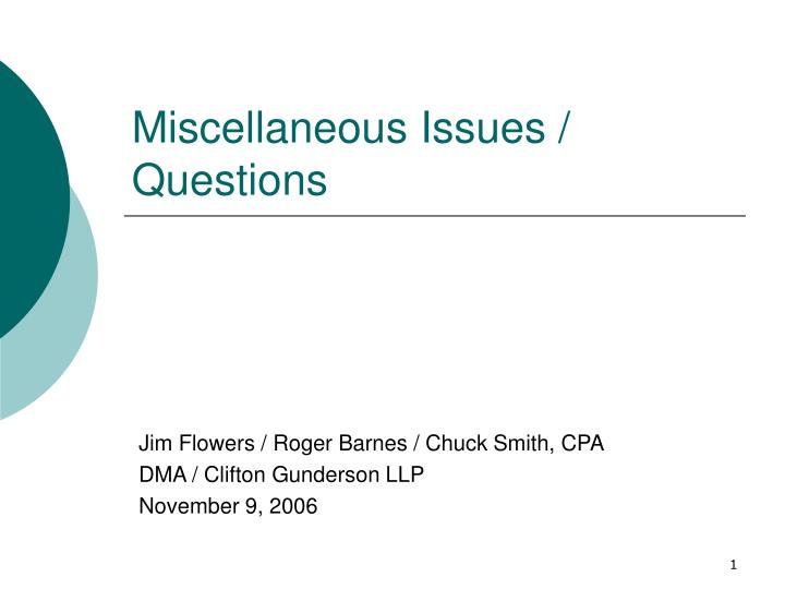 miscellaneous issues questions n.