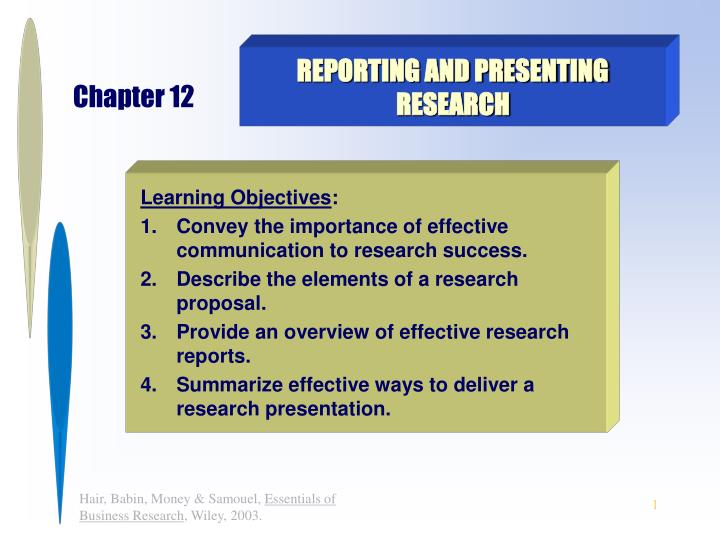 reporting and presenting research n.