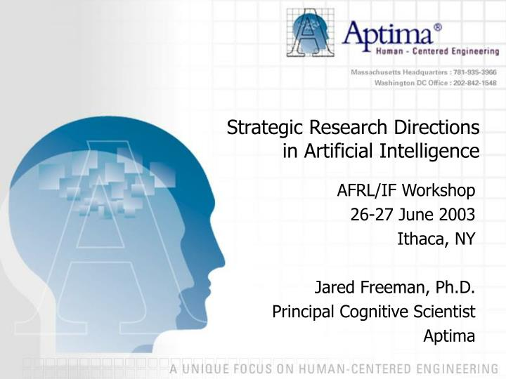 strategic research directions in artificial intelligence n.