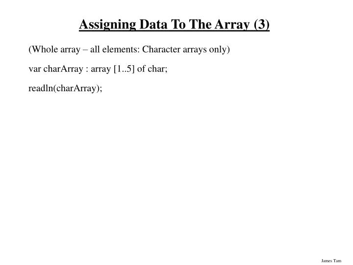 Assigning Data To The Array