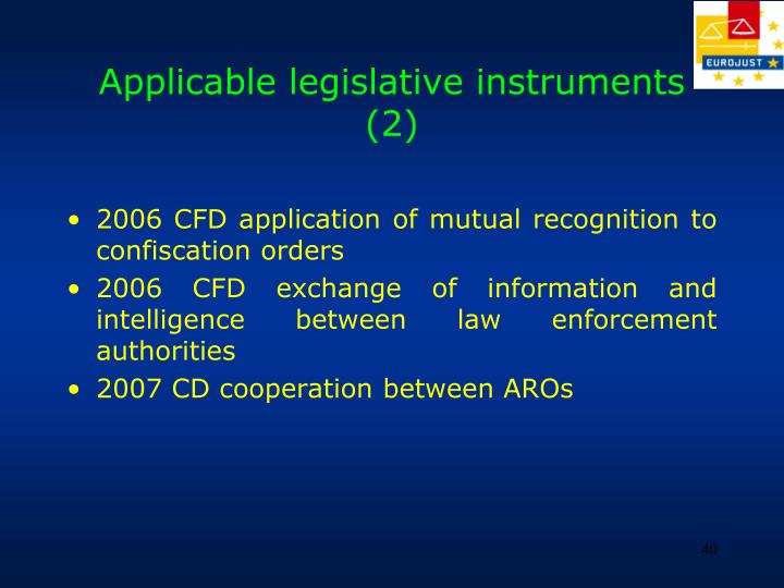 Applicable legislative instruments (2)