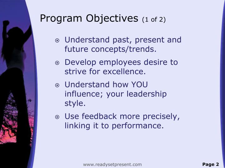 Program objectives 1 of 2