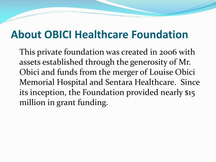 About obici healthcare foundation