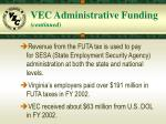 vec administrative funding continued