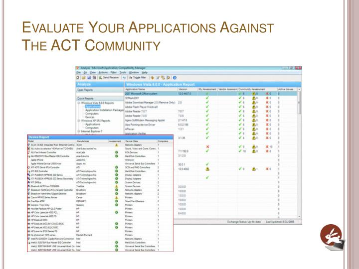 Evaluate Your Applications Against