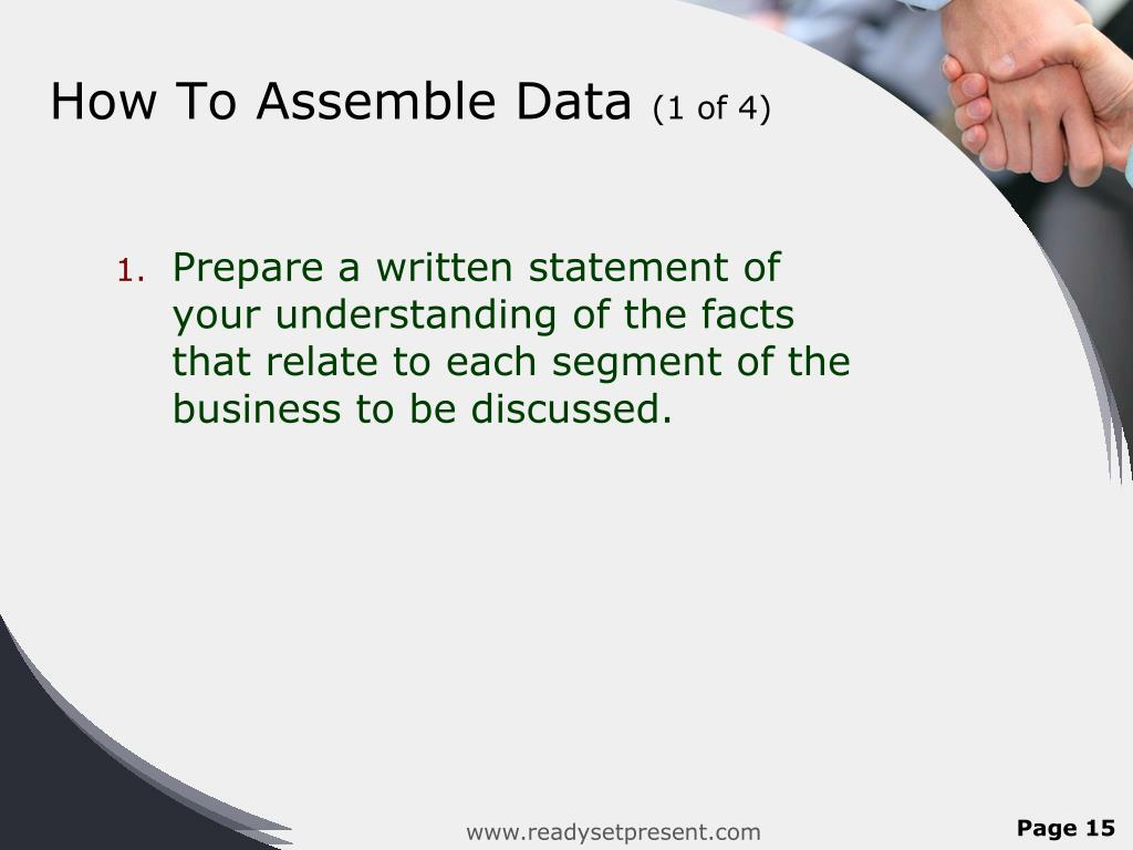How To Assemble Data