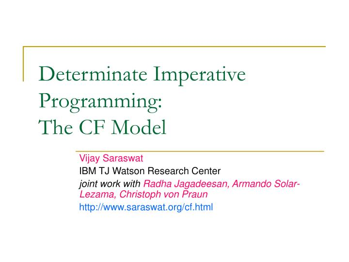 determinate imperative programming the cf model n.