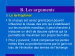b les arguments