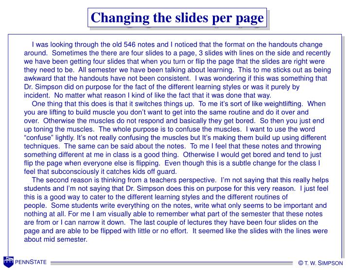 Changing the slides per page