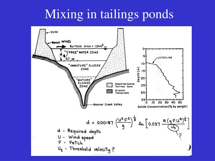 Mixing in tailings ponds