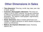 other dimensions in sales