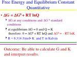 free energy and equilibrium constant quantitative