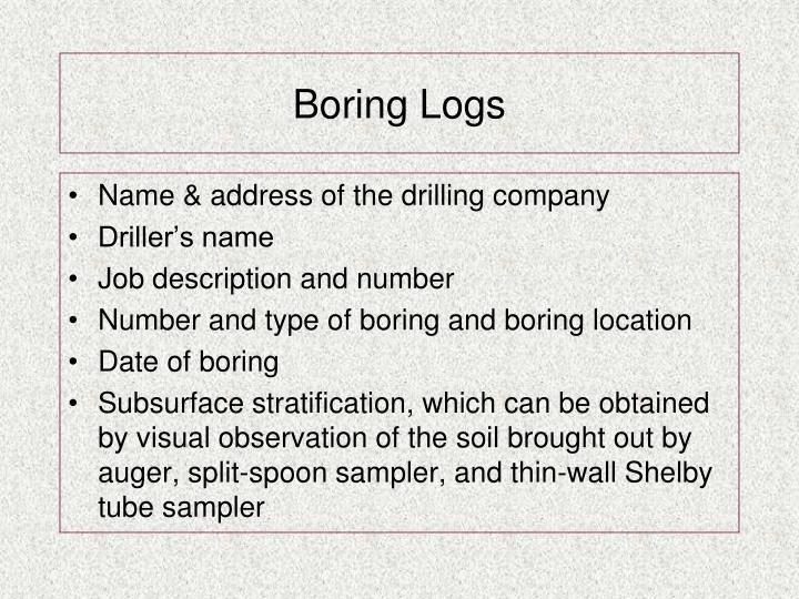 Boring Logs