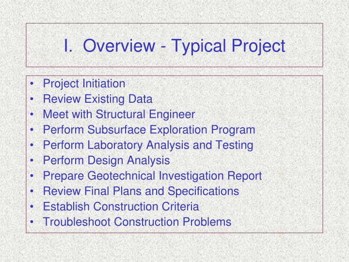 I overview typical project