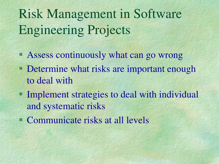 Risk Management in Software Engineering Projects