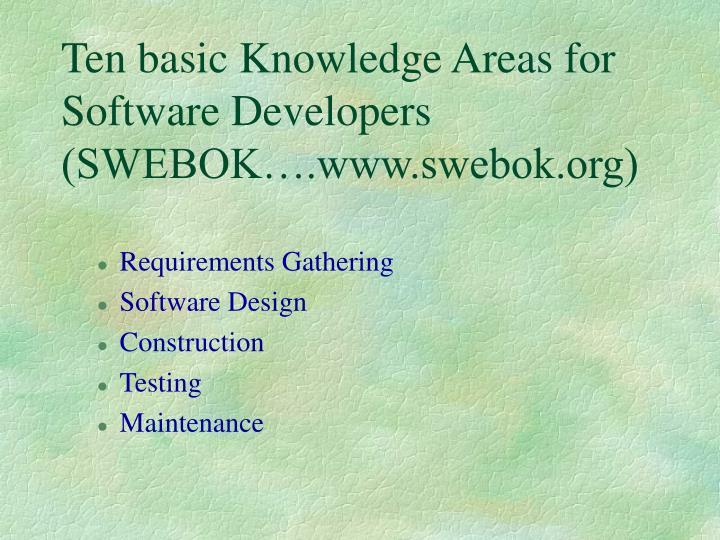Ten basic Knowledge Areas for Software Developers  (SWEBOK….www.swebok.org)
