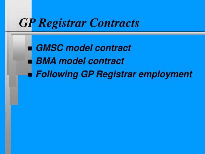GP Registrar Contracts