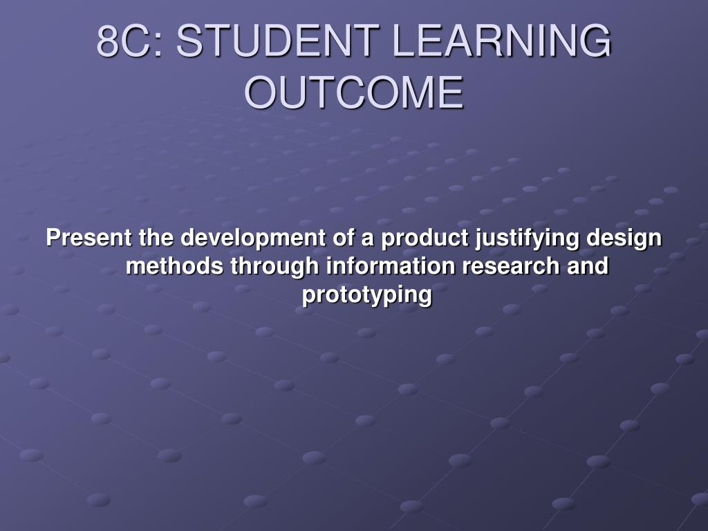 8C: STUDENT LEARNING OUTCOME