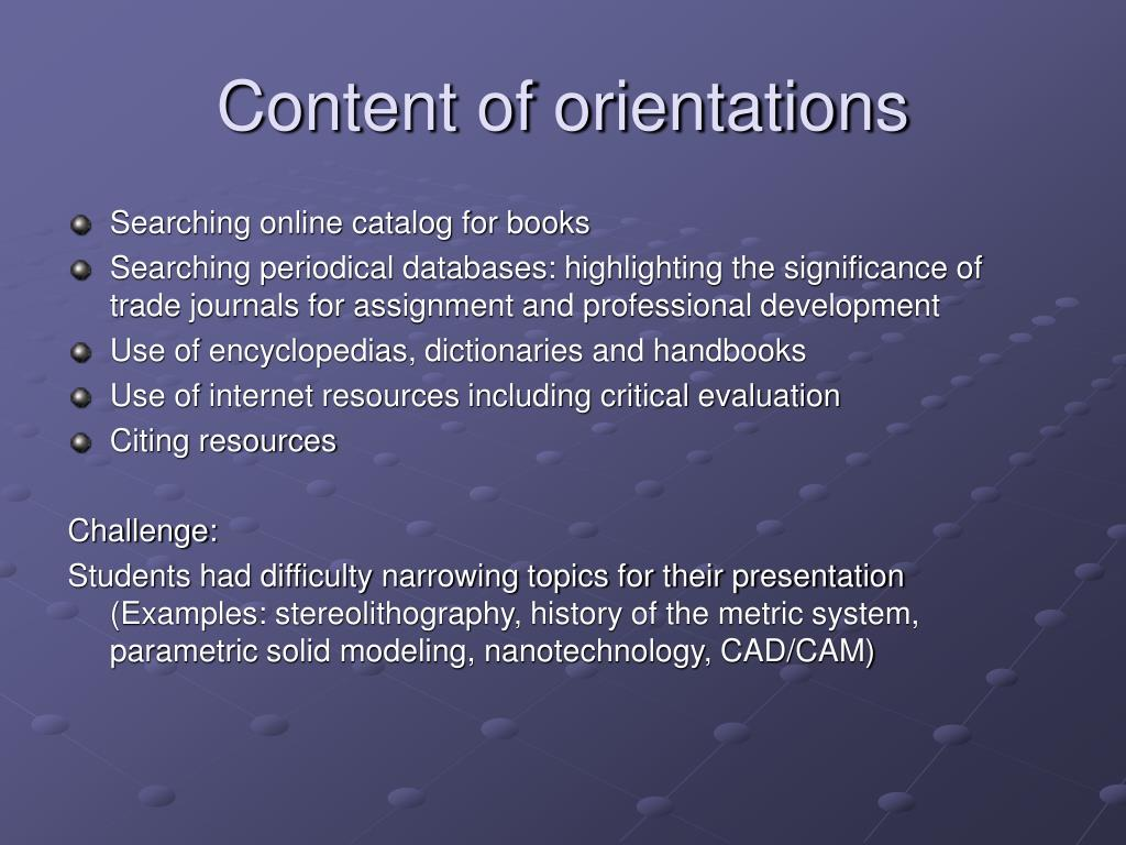 Content of orientations